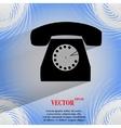 Retro telephone flat modern web button on a flat vector
