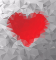 Red heart polygonal triangular pattern background vector