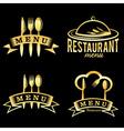 Golden restaurant and menu elements set vector