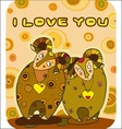 Valentines day two enamoured animals vector