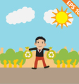 Cartoon with recycle bag - - eps10 vector