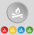 Fire flame icon sign symbol on five flat buttons vector