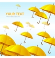 Colorful yellow umbrellas flying high vector