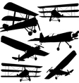 Collection of different combat aircraft silhouette vector