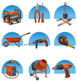 Construction tools icon set vector