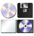 Realistic cd and floppy set vector