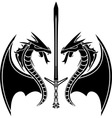 Flying dragons and sword vector