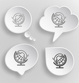 Globe and handset white flat buttons on gray vector