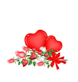 Lovely rose with red bow and two hearts vector