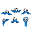 Set of soccer balls with blue ribbons vector