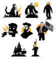 Icons set of monsters and humans isolated vector