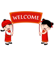 Chinese kids welcome vector