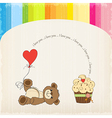 Cute love card with teddy bear vector