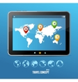 Tablet map and globe set infographics vector