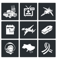 Plane crash icons set vector