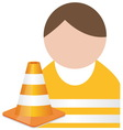 Buddy in orange safety vest with traffic cone vector