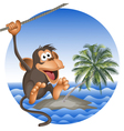 Tropical beach with a palm tree and the ridiculous vector