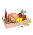Candles with christmas dinner in wooden container vector