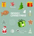 Retro christmas symbols - icons set vector
