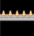 Background with traffic cones on road vector
