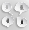 Owl white flat buttons on gray background vector