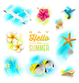 Set of tropical nature elements vector