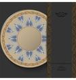 Stylish greek round ornament on a dark background vector