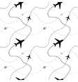 Airline routes with planes on white seamless vector