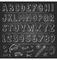 Hand drawn trendy letters alphabet back to school vector