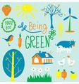 Eco friendly symbols set - agriculrure flowers vector