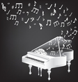Music card with white grand piano and notes vector