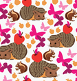 Seamless pattern with hedgehog butterfly and squir vector