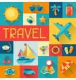 Travel and tourism background in flat design style vector