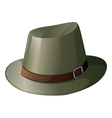 A gray hat with a brown belt vector