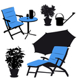 Garden furniture silhouettes vector