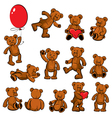 Set of vintage soft toys - teddy bears vector