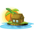 An island with a bamboo house vector