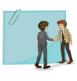 Two businessmen in front of the empty template vector