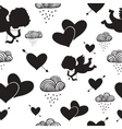Love cupids hearts arrows and clouds seamless vector
