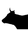 Black silhouette of the head of a cow vector