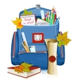 Back to school school bag with education objects vector