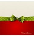 Greeting card with green polka dot bow vector