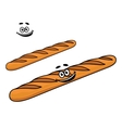 Crusty long cartoon french baguette vector
