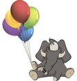 The elephant calf and birthday balloons cartoon vector