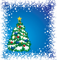 Holiday tree with snow frame vector