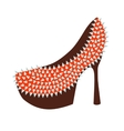 Womens high-heeled red shoes decorated with studs vector