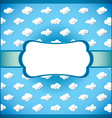 Vintage lace frame with clouds vector