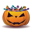 Pumpkin with candy vector