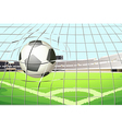 A ball hitting the soccer goal vector