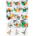 Mega set of color paper infographics vector